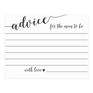 Advice for the Mom to Be Baby Shower Cards Postcard