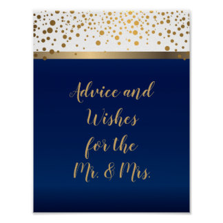 Advice - Gold Confetti Dots - White and Navy Blue Poster