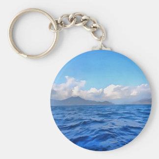 Aegean Blue Basic Round Button Keychain
