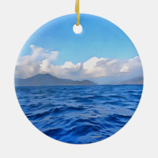 Aegean Blue Round Ceramic Ornament