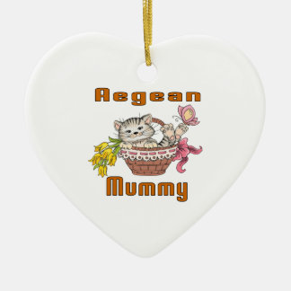 Aegean Cat Mom Ceramic Heart Ornament