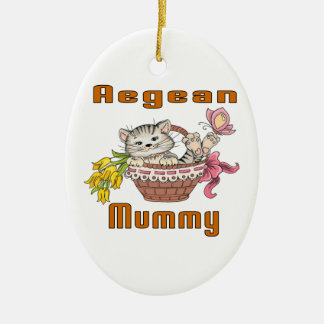 Aegean Cat Mom Ceramic Oval Ornament