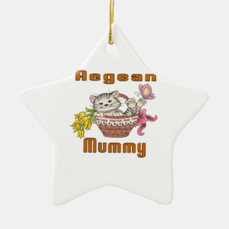 Aegean Cat Mom Ceramic Star Ornament