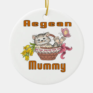 Aegean Cat Mom Round Ceramic Ornament
