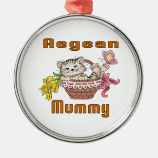 Aegean Cat Mom Silver-Colored Round Ornament