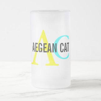 Aegean Cat Monogram 16 Oz Frosted Glass Beer Mug
