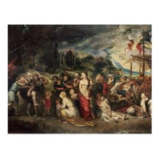 Aeneas prepares to lead the Trojans into exile Postcard
