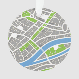 Aerial City Streets Pattern Ornament
