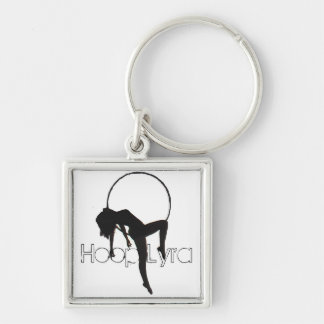 Aerial Hoop Lyra Keyring Silver-Colored Square Keychain