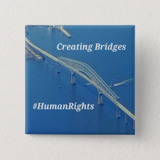 Aerial Inspirational Symbolic Bridge On Blue Water 2 Inch Square Button