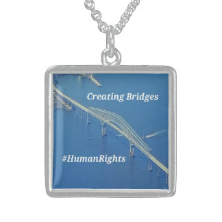 Aerial Inspirational Symbolic Bridge On Blue Water Sterling Silver Necklace
