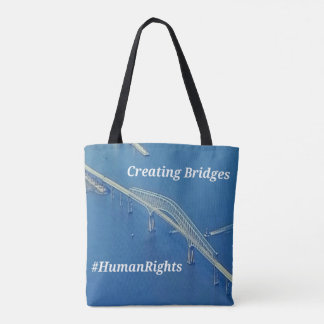 Aerial Inspirational Symbolic Bridge On Blue Water Tote Bag