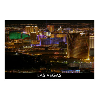 Aerial Las Vegas Strip at Night - High Altitude Poster