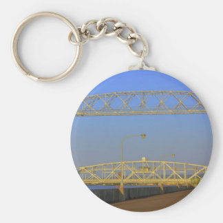Aerial Lift Bridge from North Pier Basic Round Button Keychain