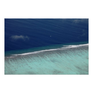 Aerial Maldives coral reef Poster