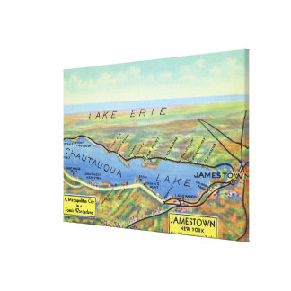 Aerial Map of Lake and Surrounding Towns Canvas Print