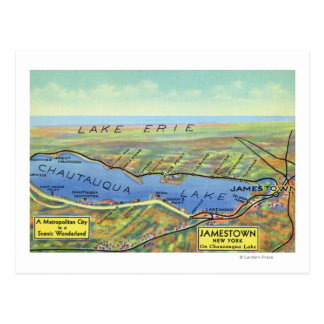 Aerial Map of Lake and Surrounding Towns Postcard