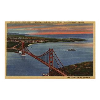 Aerial of Golden Gate Bridge & Bay Area Poster