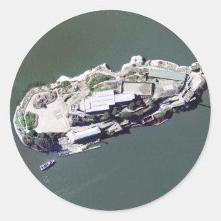 Aerial photograph of Alcatraz Classic Round Sticker
