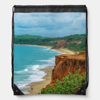 Aerial Seascape Scene Pipa Brazil Drawstring Bag