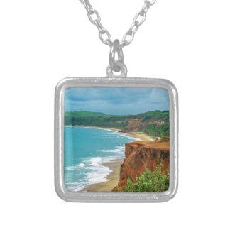 Aerial Seascape Scene Pipa Brazil Silver Plated Necklace