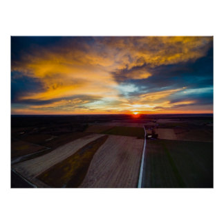 Aerial Sunset Poster