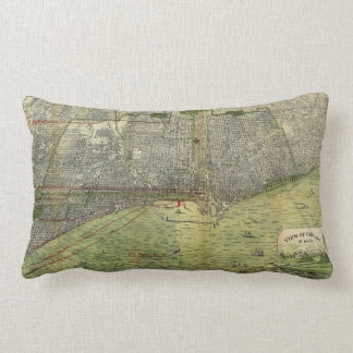 Aerial View Chicago, Illinois by Peter Roy (1893) Lumbar Pillow