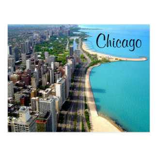 Aerial View Chicago Illinois Travel Post Card