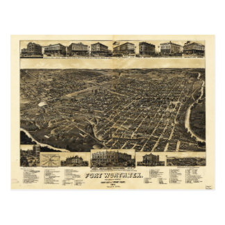 Aerial View Fort Worth Tarrant County Texas (1886) Postcard