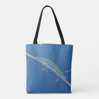 Aerial View Inspirational Bridge Over Blue Water Tote Bag