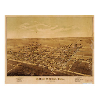 Aerial View of Abingdon, Illinois (1874) Poster