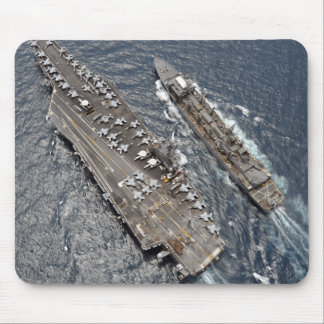 Aerial view of aircraft carrier USS Ronald Reag Mouse Pad