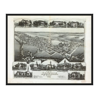 Aerial View of Annville, Pennsylvania (1888) Canvas Print