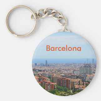 Aerial view of Barcelona, Spain Basic Round Button Keychain