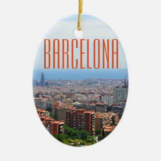 Aerial view of Barcelona, Spain Ceramic Oval Ornament