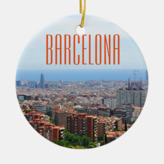 Aerial view of Barcelona, Spain Round Ceramic Ornament