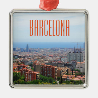 Aerial view of Barcelona, Spain Silver-Colored Square Ornament