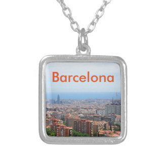 Aerial view of Barcelona, Spain Silver Plated Necklace