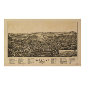 Aerial View of Barre, Vermont (1891) Poster