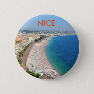 Aerial view of beach in Nice, France 2 Inch Round Button