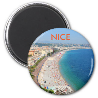 Aerial view of beach in Nice, France 2 Inch Round Magnet