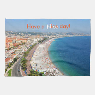 Aerial view of beach in Nice, France Hand Towel