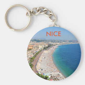 Aerial view of beach in Nice, France Keychain