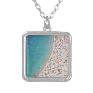 Aerial view of beach in Nice, France Silver Plated Necklace