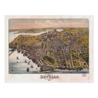 Aerial View of Beverly, Massachusetts (1886) Postcard