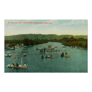 Aerial View of Boats on Lake Watsonville Poster