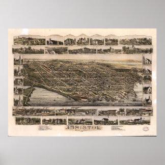 Aerial View of Bristol, Rhode Island (1891) Poster