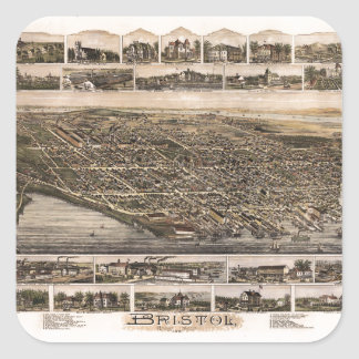 Aerial View of Bristol, Rhode Island (1891) Square Sticker