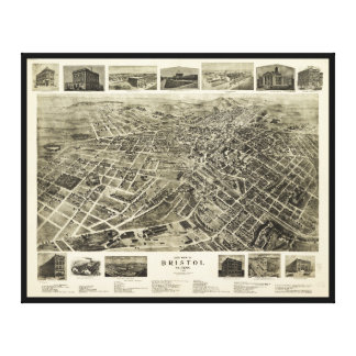 Aerial View of Bristol, Virginia/Tennessee (1912) Canvas Print