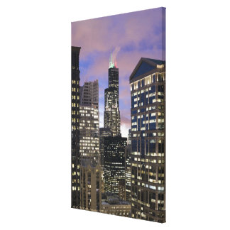 Aerial view of buildings in the Chicago Loop, Stretched Canvas Prints